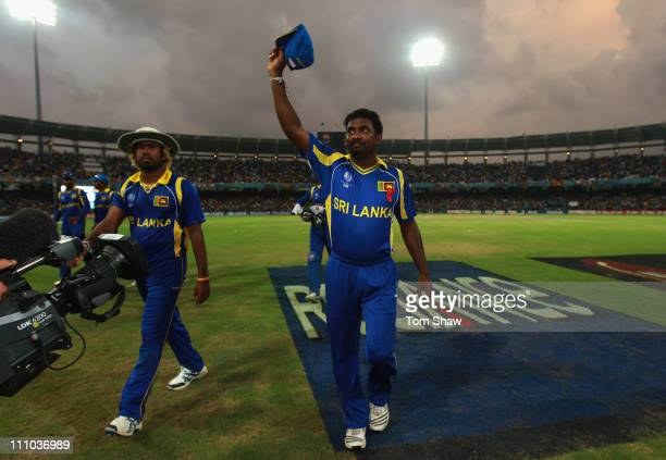 Muttiah Muralitharan of Sri Lanka leaves the field for the last time in Sri Lanka during the 2011 ICC World Cup SemiFinal match between New Zealand...