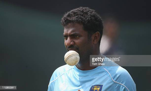 Muttiah Muralitharan of Sri Lanka looks on during a Sri Lanka nets session at the R Premedasa Stadium on March 25 2011 in Colombo Sri Lanka