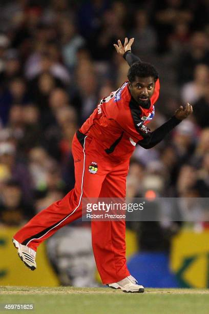 Muttiah Muralitharan of the Renegades bowls during the Big Bash League match between the Melbourne Renegades and Brisbane Heat at Etihad Stadium on...