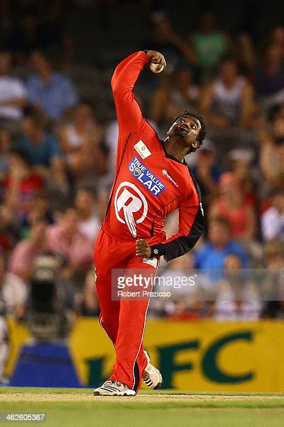 Muttiah Muralitharan of the Renegades bowls during the Big Bash League match between the Melbourne Renegades and Sydney Thunder at Etihad Stadium on...