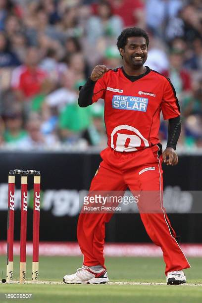 Muttiah Muralitharan of the Renegades celebrates the wicket of Cameron White of the Stars during the Big Bash League match between the Melbourne...