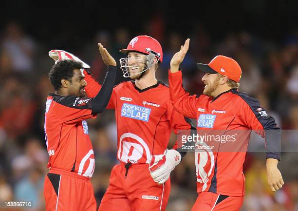 Muttiah Muralitharan of the Renegades celebrates with his team mates after dismissing Nathan Reardon of the Strikers during the Big Bash League match...