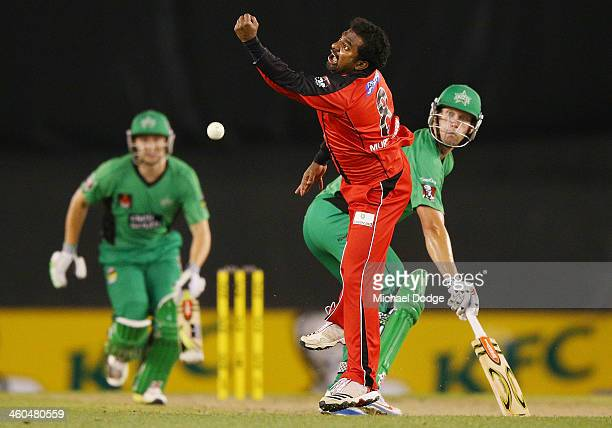 Muttiah Muralitharan of the Renegades drops a catch to dismiss Luke Wright of the Stars during the Big Bash League match between the Melbourne...