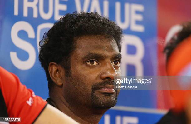 Muttiah Muralitharan of the Renegades looks on during the Big Bash League match between the Melbourne Renegades and the Hobart Hurricanes at Etihad...