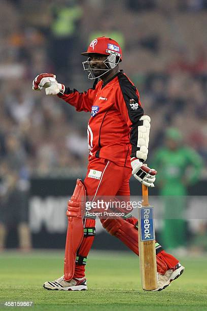 Muttiah Muralitharan of the Renegades walks out to the middle during the Big Bash League match between the Melbourne Stars and the Melbourne...