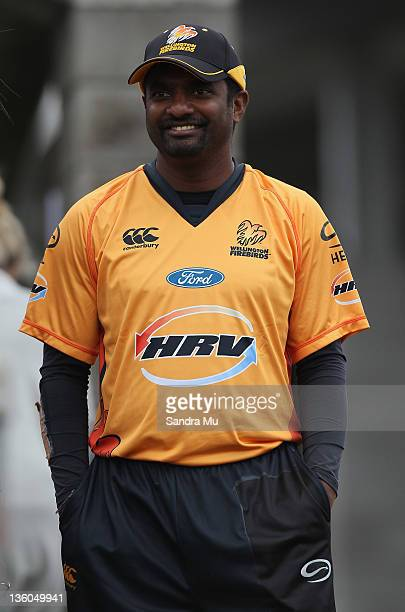 Muttiah Muralitharan of Wellington watches from the boundary as Auckland fields during the HRV Cup round one match between the Auckland Aces and the...