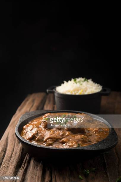 Mutton Curry. Served In A Cooking Pan.