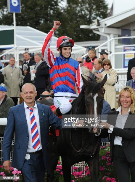 Mutual Regard and Louis Steward celebrate after winning the Betfred Ebor on Betfred Ebor Day during Day Four of the 2014 Welcome To Yorkshire Ebor...