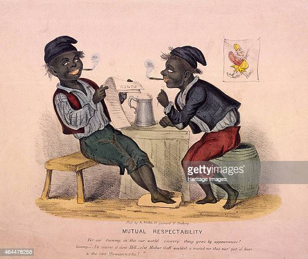 'Mutual Respectability ' 1840 Two child chimneysweeps acting like adults smoking drinking and reading the paper They smile together