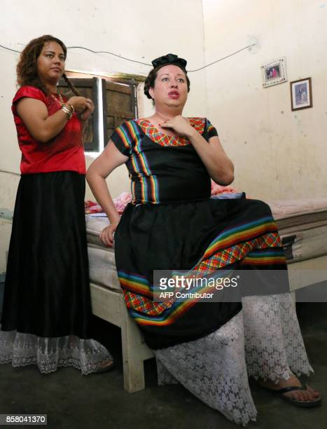'Muxe' Biniza Carrillo sexual diversity activist and Dayana Gallegos Director of sexual diversity in the Juchitan community speak during an enterview...