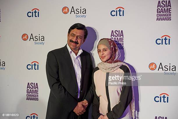 Muzoon Almellehan and her father during the Asia Game Changers 2016 Awards held at the United Nations Headquarters
