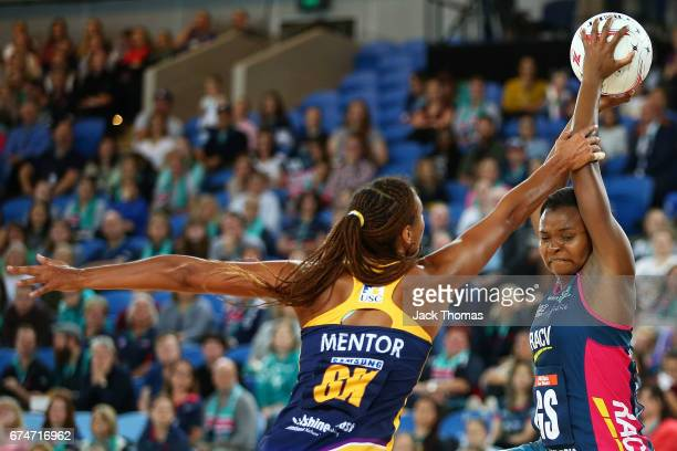 Mwah Kumwenda of the Melbourne Vixens catches the ball during the round 10 Super Netball match between the Vixens and the Lightning at Margaret Court...