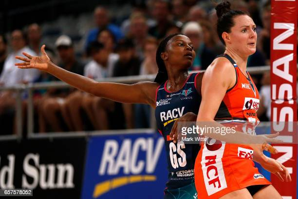 Mwai Kumwenda of Melbourne Vixens calls for the ball during the round six Super Netball match between the Vixens and the Giants at Hisense Arena on...