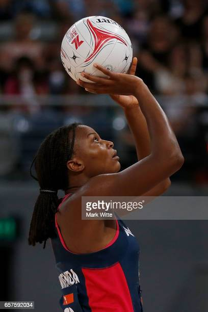 Mwai Kumwenda of Melbourne Vixens shoots for goal during the round six Super Netball match between the Vixens and the Giants at Hisense Arena on...