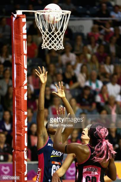 Mwai Kumwenda of the Vixens has a shot on goal during the round eight Super Netball match between the Thunderbirds and the Vixens at Priceline...