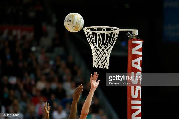 Mwai Kumwenda of the Vixens shoots for goal during the Super Netball Preliminary Final match between the Vixens and the Giants at Hisense Arena on...