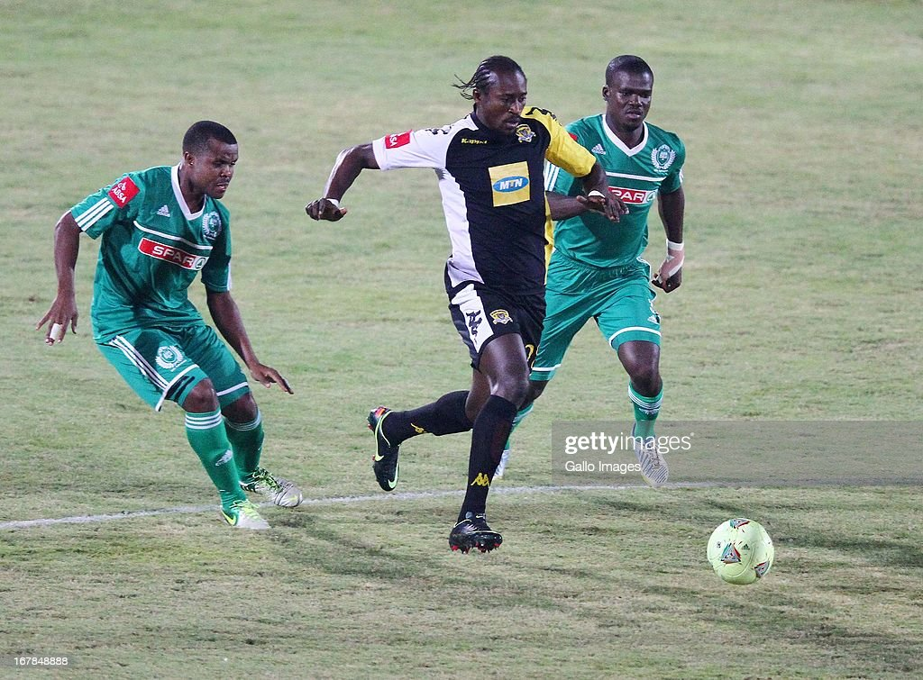 Mxolisi Gumede beats Goodman Dlamini to the ball during the Absa Premiership match between AmaZulu and Black Leopards from Princess Magogo Stadium on May 01, 2013 in Kwa Mashu, South Africa.