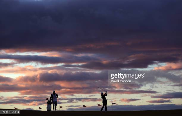 My Leander of Sweden plays her approach shot to the 17th hole as the light fades during the first round of the Ricoh Women's British Open at...