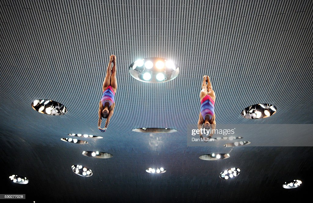 My Phan and Maria Kurjo of Germany warm up for the Womens Diving Synchronised Platform Final on Day Two of the LEN European Swimming Championships at...