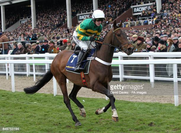 My Tent Or Yours ridden by jockey Tony McCoy going to post prior to the William Hill Supreme Novices' Hurdle during day one of the 2013 Cheltenham...