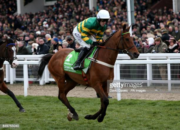 My Tent Or Yours ridden by Tony McCoy going to post prior to the Stan James Champion Hurdle Challenge Trophy during day one of the 2013 Cheltenham...