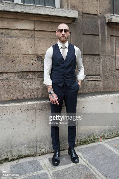 My Theresa fashion buyer Justin O'Shea wears all Brioni on day 1 of Paris Collections Men on June 22 2016 in Paris France Justin O'u2019Shea