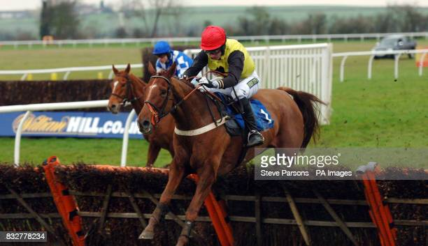 My Turn Now ridden by Noel Fehily jumps the last to win the Vcbetcouk Sidney Banks Memorial Novices' Hurdle at Huntingdon Racecourse