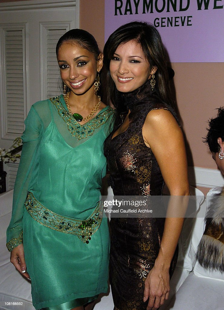 Mya and Kelly Hu during EMI Post-GRAMMY Party - Inside at Polo Lounge at the Beverly Hills Hotel in Los Angeles, California, United States.