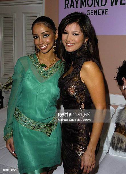Mya and Kelly Hu during EMI PostGRAMMY Party Inside at Polo Lounge at the Beverly Hills Hotel in Los Angeles California United States