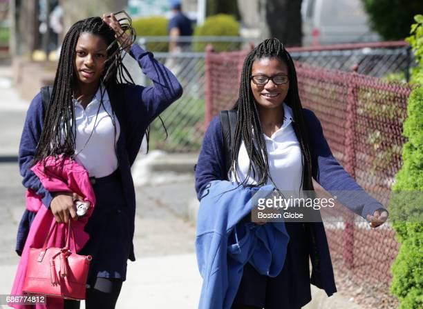 Mya Cook left and her sister Deanna Cook right who attend Mystic Valley Regional Charter School are pictured in Malden MA on May 12 2017 The school...