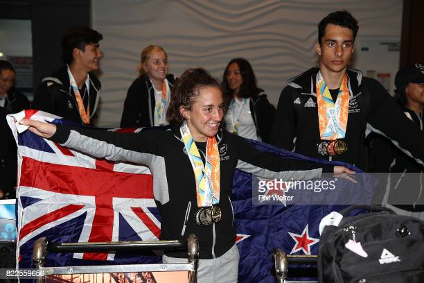 Mya Rasmussen of the New Zealand Youth Commonwealth Games team arrives back from the Bahamas Youth Commonwealth Games at the Auckland International...
