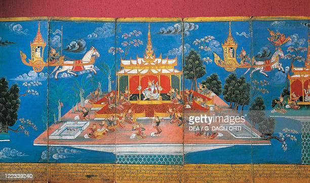 Myanmar 19th century art Manuscript depicting Nimi Jakata King Nimi visits the underworld and the skies on the cart of Indra the god of heaven