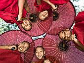 Myanmar, Bagan, young Buddhist monks