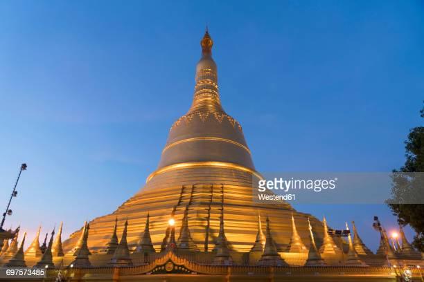 Myanmar, Bago, Shwemawdaw Pagoda at dusk