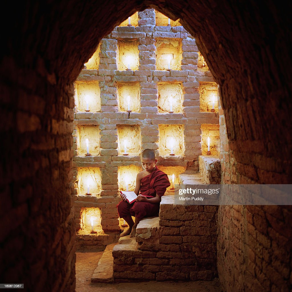 Myanmar, Buddhist monk inside temple : Stock Photo
