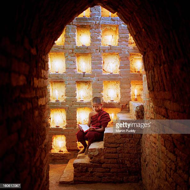 Myanmar, Buddhist monk inside temple