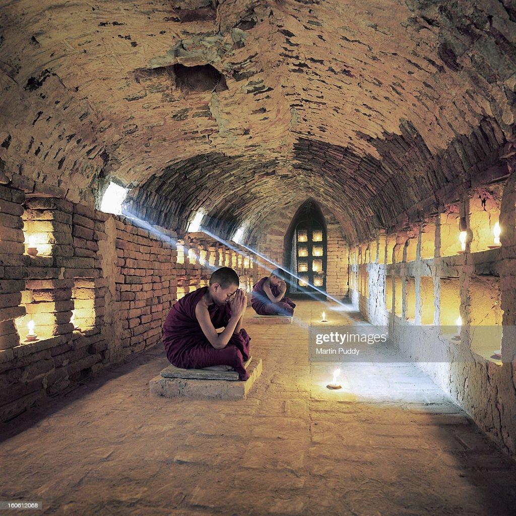 Myanmar, Buddhist monks inside meditation hall : Stock Photo