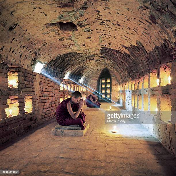 Myanmar, Buddhist monks inside meditation hall