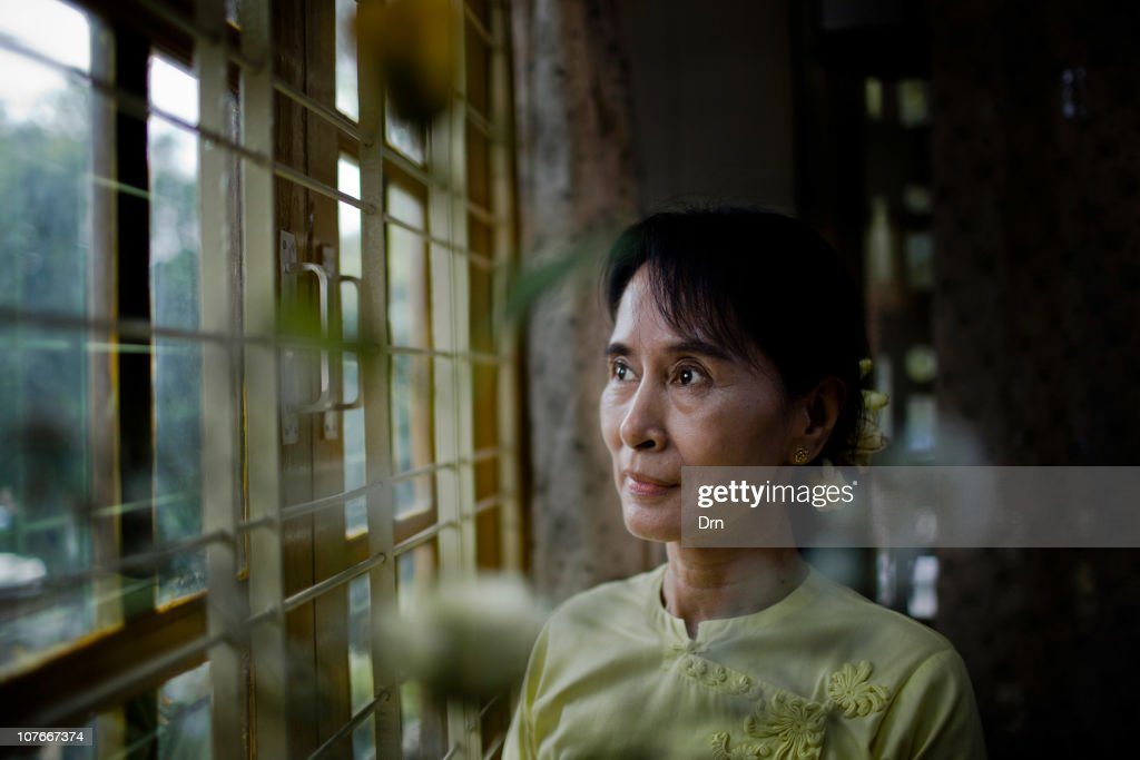 Myanmar democracy icon Aung San Suu Kyi poses for a portrait at the National League for Democracy headquarters in Yangon on December 8 2010 in Yangon...