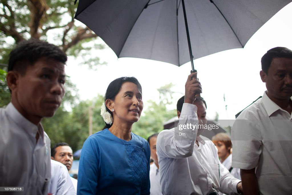 Myanmar democracy icon <a gi-track='captionPersonalityLinkClicked' href=/galleries/search?phrase=Aung+San+Suu+Kyi&family=editorial&specificpeople=214208 ng-click='$event.stopPropagation()'>Aung San Suu Kyi</a> speaks during a meeting to mark Human RIghts Day at the National League for Democracy (NLD) headquarters in Yangon on December 10, 2010 in Yangon, Myanmar. Last month Myanmar saw the release of <a gi-track='captionPersonalityLinkClicked' href=/galleries/search?phrase=Aung+San+Suu+Kyi&family=editorial&specificpeople=214208 ng-click='$event.stopPropagation()'>Aung San Suu Kyi</a> after seven years of house arrest.