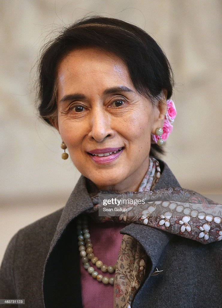 Myanmar human rights activist and politician Aung San Suu Kyi arrives at Bellevue Palace to meet with German President Joachim Gauck on April 10, 2014 in Berlin, Germany. Aung San Suu Kyi is on a two-day visit to Germany before she continues to France.