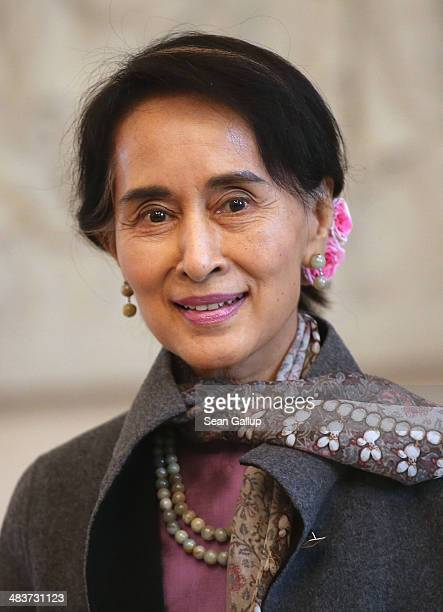 Myanmar human rights activist and politician Aung San Suu Kyi arrives at Bellevue Palace to meet with German President Joachim Gauck on April 10 2014...
