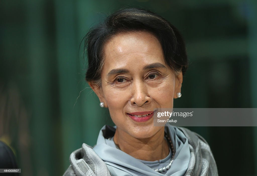 Myanmar human rights activist and politician <a gi-track='captionPersonalityLinkClicked' href=/galleries/search?phrase=Aung+San+Suu+Kyi&family=editorial&specificpeople=214208 ng-click='$event.stopPropagation()'>Aung San Suu Kyi</a> arrives at Willy Brandt Haus, headquarters of the German Social Democrats (SPD), to receive the SPD's Willy Brandt award on April 11, 2014 in Berlin, Germany. <a gi-track='captionPersonalityLinkClicked' href=/galleries/search?phrase=Aung+San+Suu+Kyi&family=editorial&specificpeople=214208 ng-click='$event.stopPropagation()'>Aung San Suu Kyi</a> is visiting Berlin for the first time before she continues next week to France.