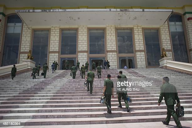 MACNAMARA Myanmar military pesonnel arrive for a regular session of the Union Parliament in Naypyidaw on August 25 2015 Myanmars Aung San Suu Kyi is...