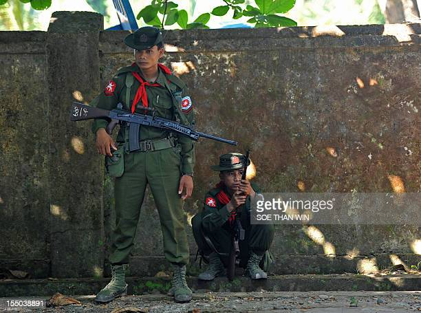 Myanmar military stand guard in Sittwe capital of Myanmar's western Rakhine state on October 31 2012 At least 88 people have been killed in sectarian...