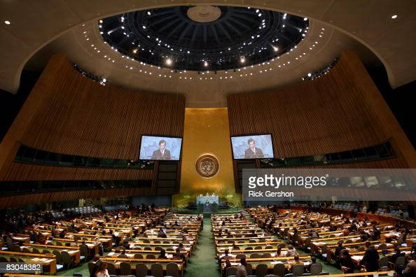 Myanmar Minister for Foreign Affairs U Nyan Win speaks at the 63rd annual United Nations General Assembly meeting September 29 2008 at UN...
