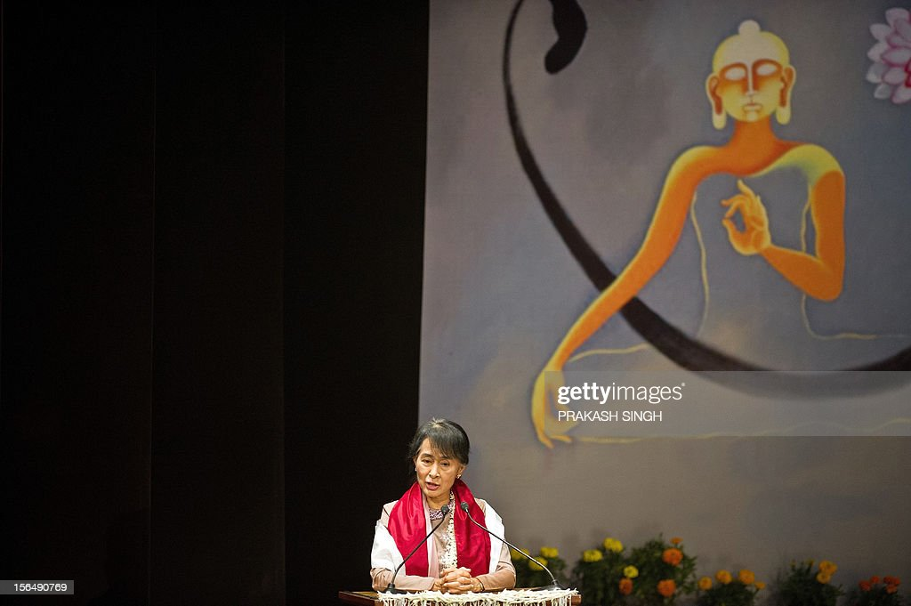 Myanmar opposition leader and National League for Democracy Chairperson Aung San Suu Kyi speaks during her visit to Lady Sri Ram College in New Delhi on November 16, 2012. Suu Kyi is in India for a seven day visit. AFP PHOTO/ Prakash SINGH