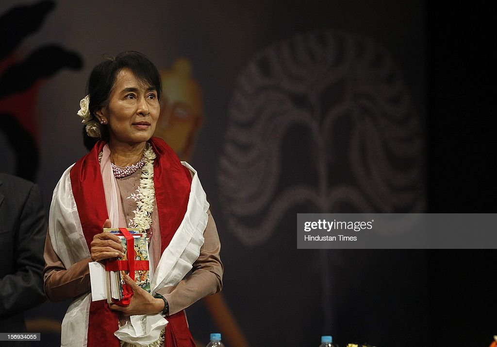 Myanmar opposition leader and National League for Democracy Chairperson Aung San Suu Kyi during her visit to Lady Sri Ram College, her alma mater on November 16, 2012 in New Delhi, India.
