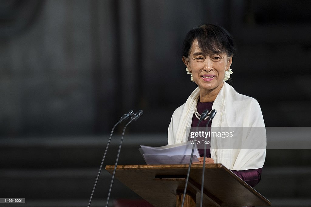 Myanmar opposition leader <a gi-track='captionPersonalityLinkClicked' href=/galleries/search?phrase=Aung+San+Suu+Kyi&family=editorial&specificpeople=214208 ng-click='$event.stopPropagation()'>Aung San Suu Kyi</a> smiles as she addresses both Houses of Parliament inside Westminster Hall after on June 21, 2012 in London, England. The Burmese opposition leader is on a four-day visit to the UK.