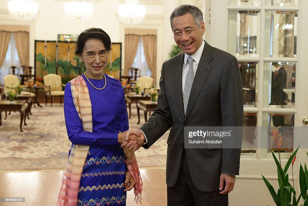 Myanmar opposition leader, Daw <a gi-track='captionPersonalityLinkClicked' href=/galleries/search?phrase=Aung+San+Suu+Kyi&family=editorial&specificpeople=214208 ng-click='$event.stopPropagation()'>Aung San Suu Kyi</a> meets with Singapore Prime Minister, <a gi-track='captionPersonalityLinkClicked' href=/galleries/search?phrase=Lee+Hsien+Loong&family=editorial&specificpeople=3911578 ng-click='$event.stopPropagation()'>Lee Hsien Loong</a> at the Istana on September 23, 2013 in Singapore. Suu Kyi is in Singapore on a five-day visit. This is also her first visit to the country.